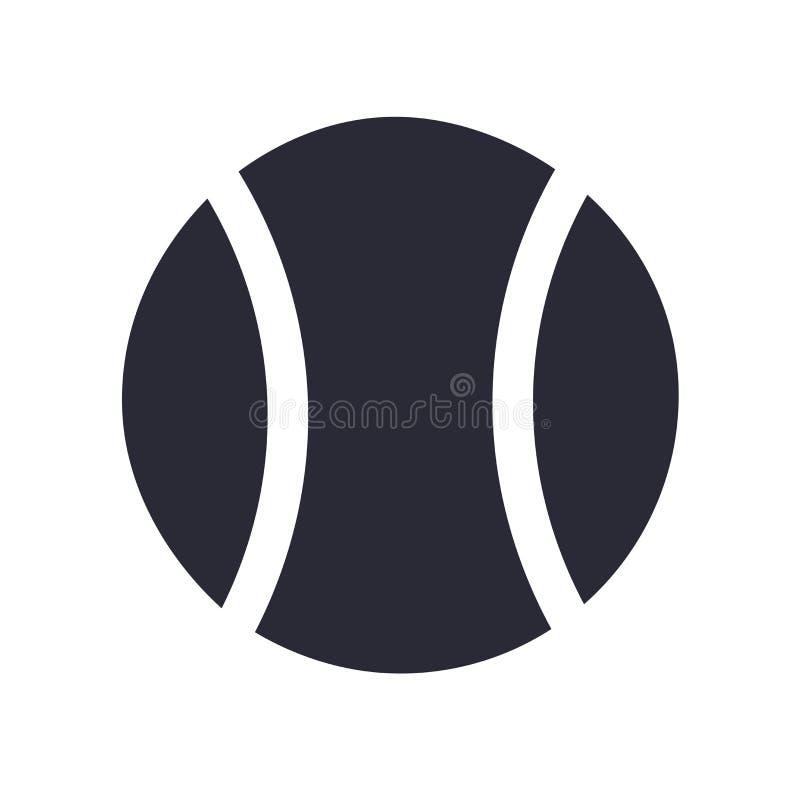 Sinal e símbolo do vetor do ícone da bola do esporte do tênis isolados no fundo branco, conceito do logotipo da bola do esporte d ilustração stock