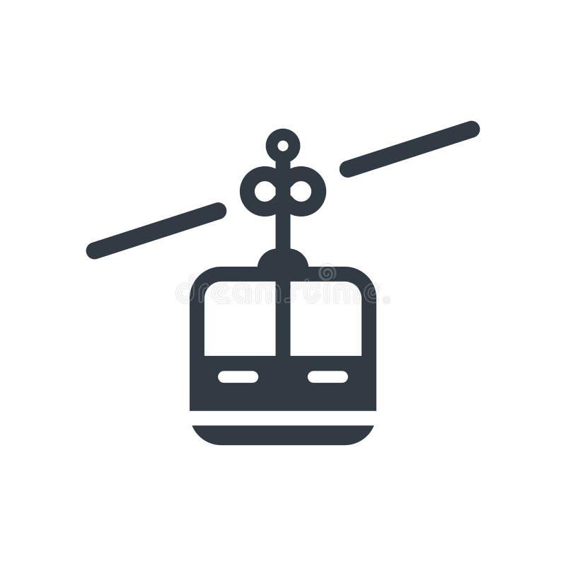 Sinal e símbolo do vetor do ícone da cabine do teleférico isolados nos vagabundos brancos ilustração stock