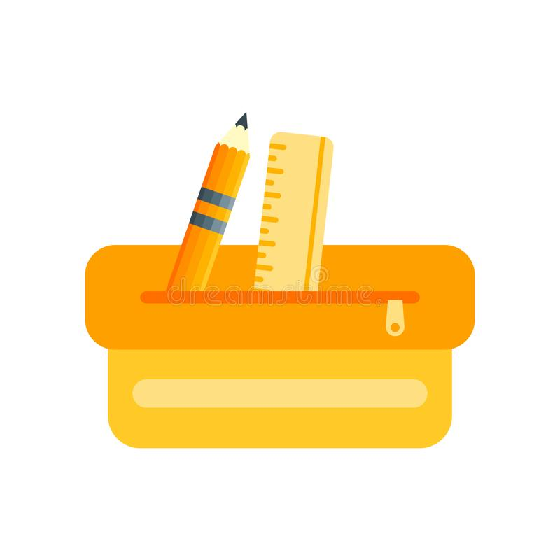 Sinal e símbolo do vetor do ícone da caixa de lápis isolados no backgr branco ilustração royalty free