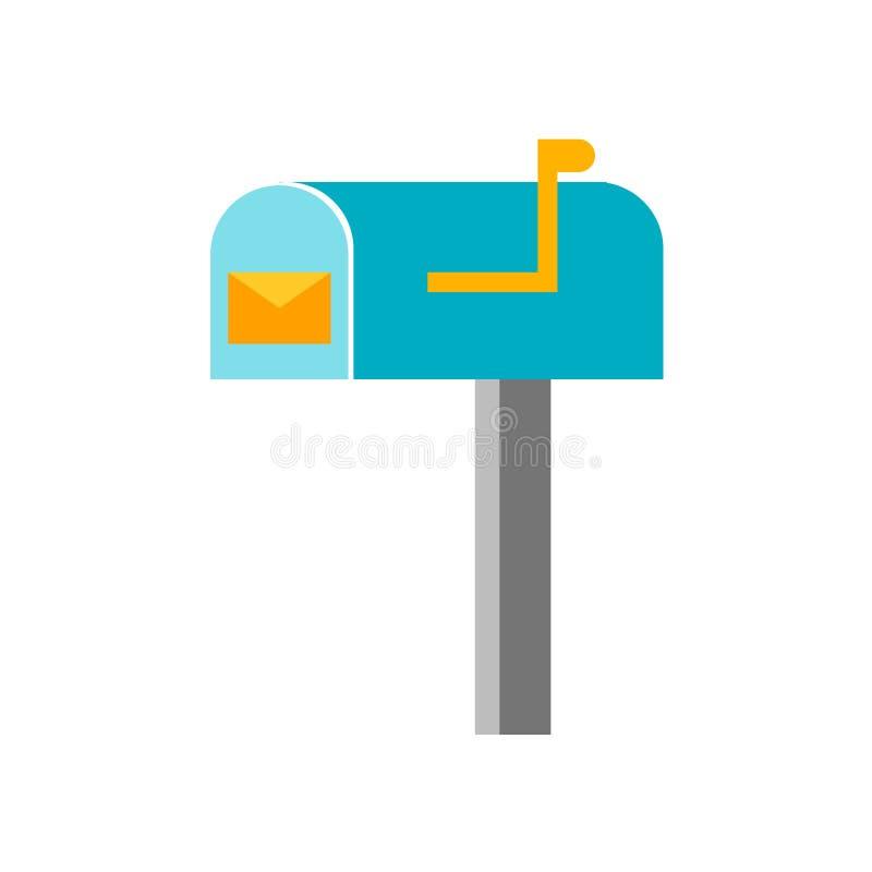 Sinal e símbolo do vetor do ícone da caixa postal isolados no fundo branco, conceito do logotipo da caixa postal ilustração stock