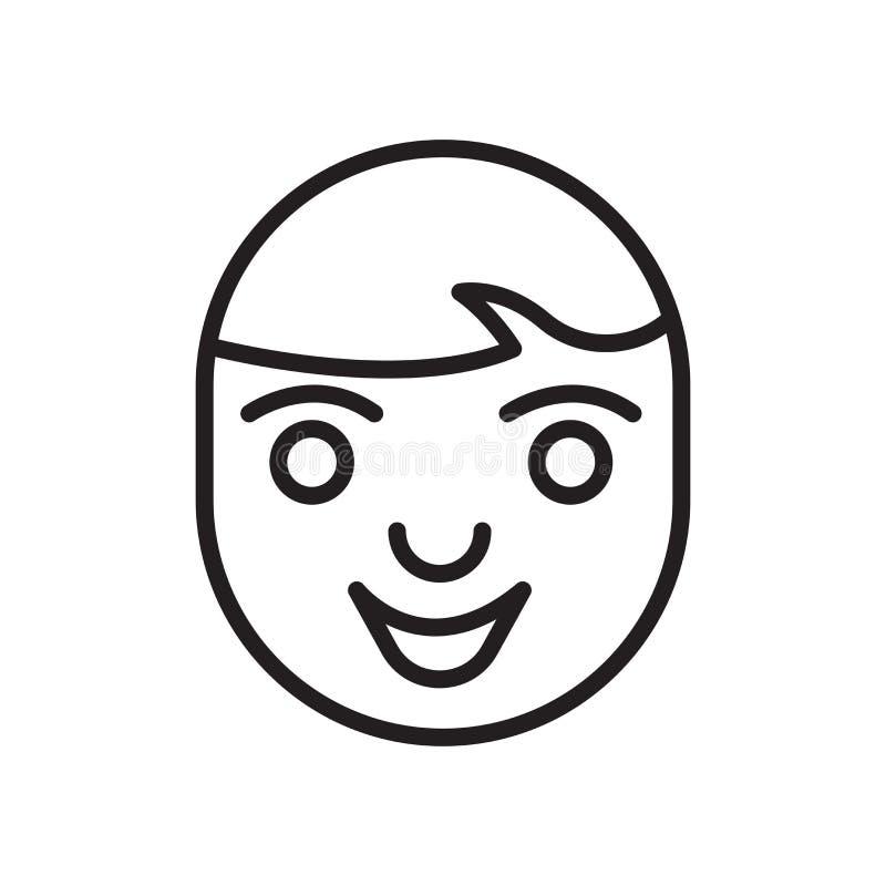 Sinal e símbolo do vetor do ícone da cara isolados no fundo branco ilustração stock