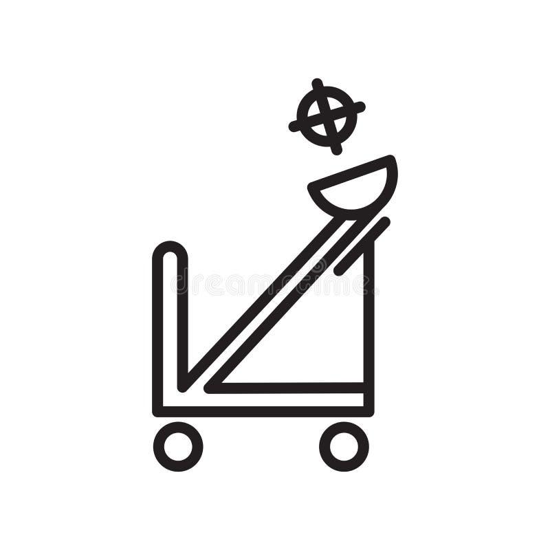 Sinal e símbolo do vetor do ícone da catapulta isolados no fundo branco, conceito do logotipo da catapulta, símbolo do esboço, si ilustração stock