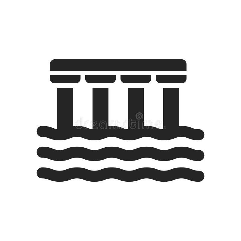 Sinal e símbolo do vetor do ícone da doca isolados no fundo branco, D ilustração stock