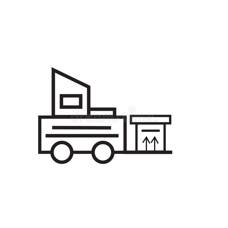 Sinal e símbolo do vetor do ícone da empilhadeira isolados no fundo branco, conceito do logotipo da empilhadeira ilustração stock