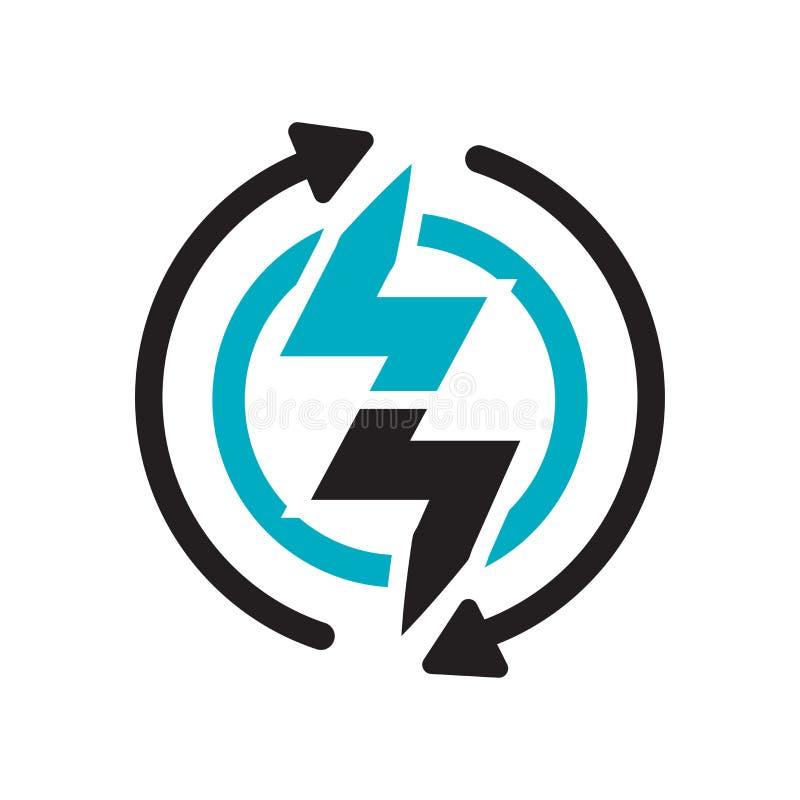 Sinal e símbolo do vetor do ícone da energia renovável isolados no fundo branco, conceito do logotipo da energia renovável ilustração stock