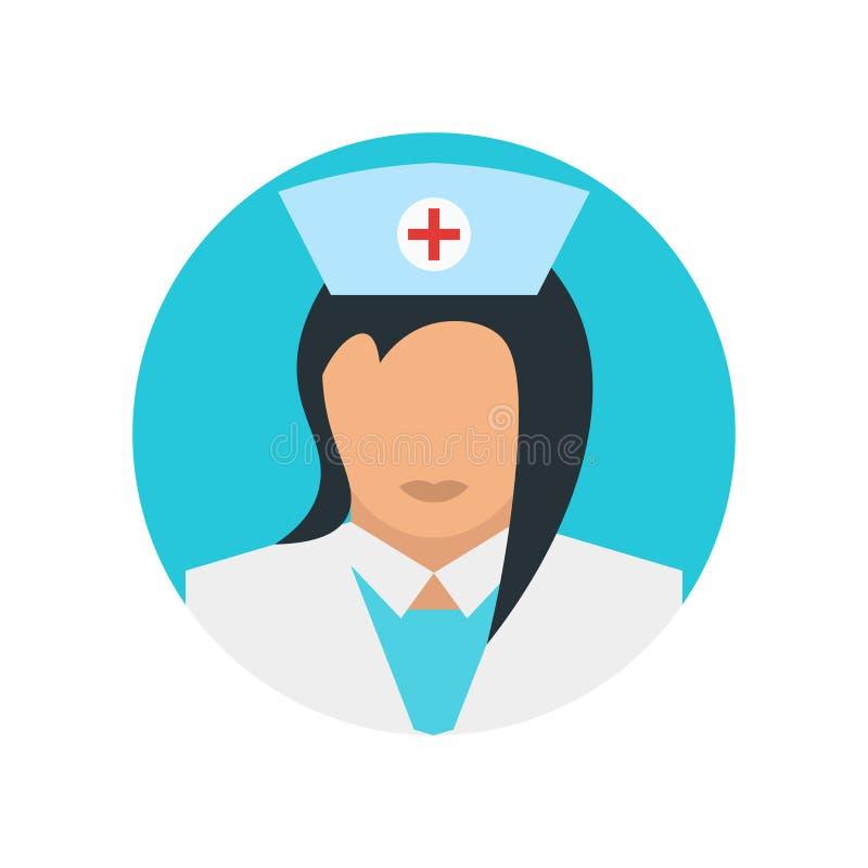 Sinal e símbolo do vetor do ícone da enfermeira isolados no fundo branco, conceito do logotipo da enfermeira ilustração royalty free