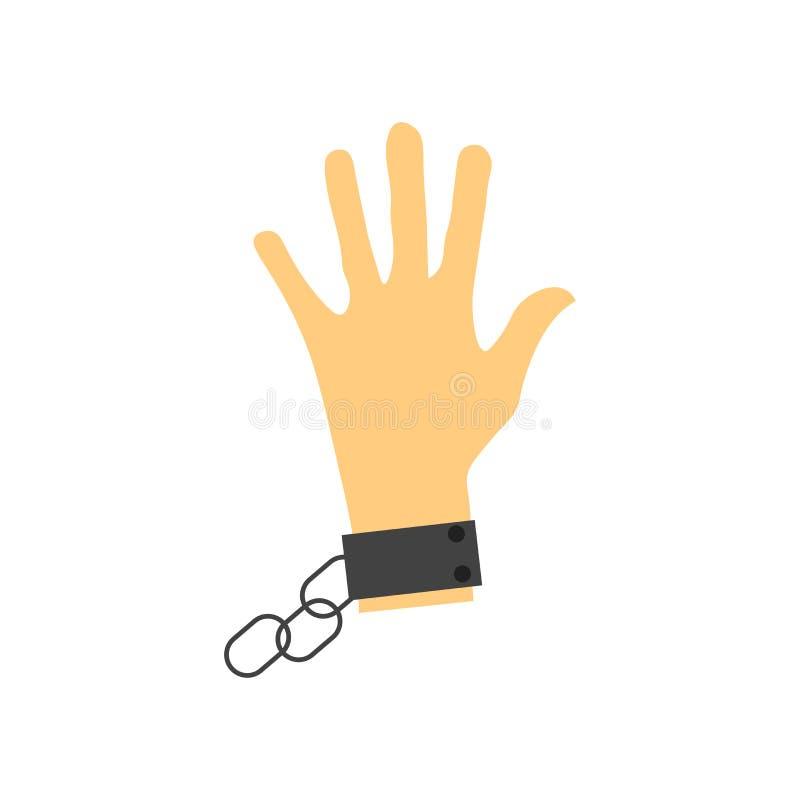 Sinal e símbolo do vetor do ícone da escravidão isolados no fundo branco, conceito do logotipo da escravidão ilustração stock