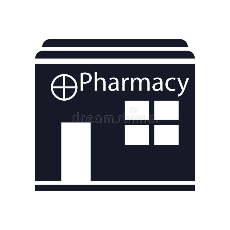 Sinal e símbolo do vetor do ícone da farmácia isolados no fundo branco, conceito do logotipo da farmácia ilustração do vetor