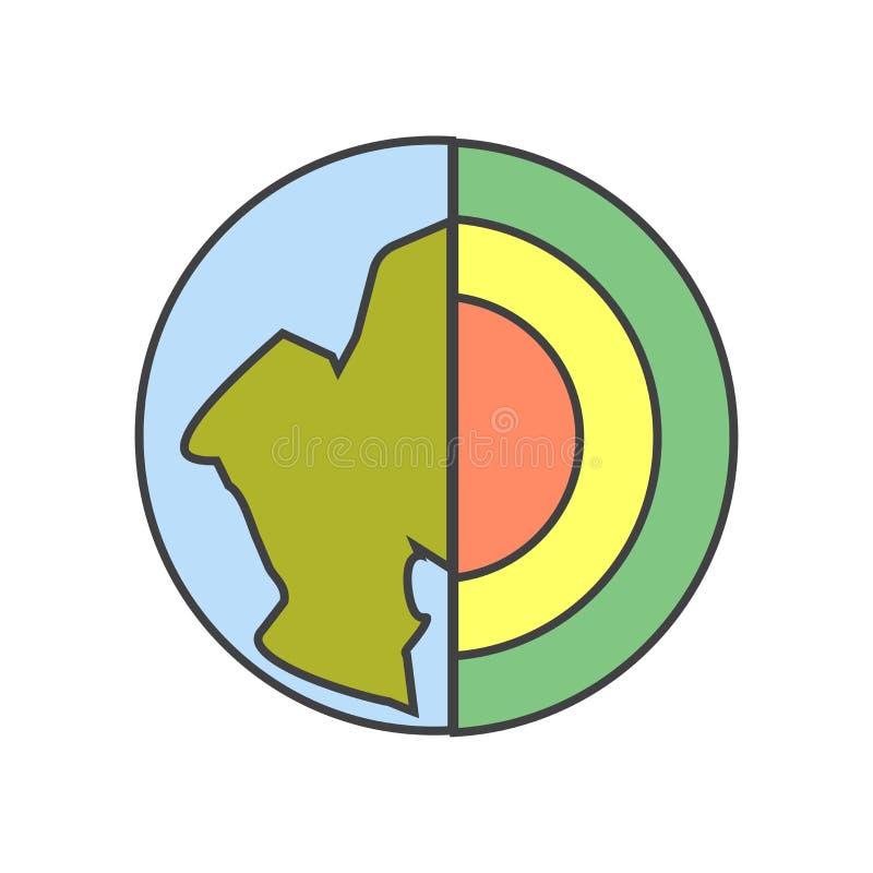 Sinal e símbolo do vetor do ícone da geologia isolados no fundo branco, conceito do logotipo da geologia ilustração royalty free