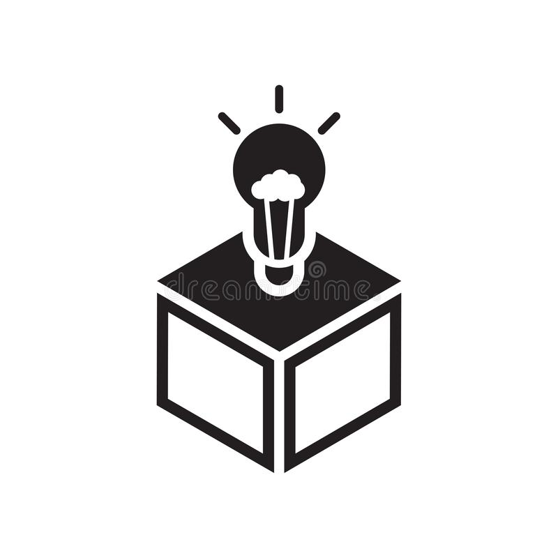 Sinal e símbolo do vetor do ícone da ideia da ampola isolados no fundo branco, conceito do logotipo da ideia da ampola ilustração do vetor