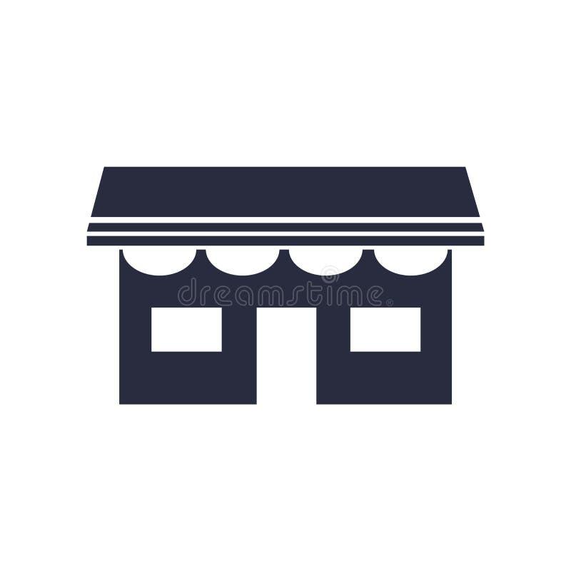 Sinal e símbolo do vetor do ícone da loja isolados no fundo branco, conceito do logotipo da loja ilustração stock