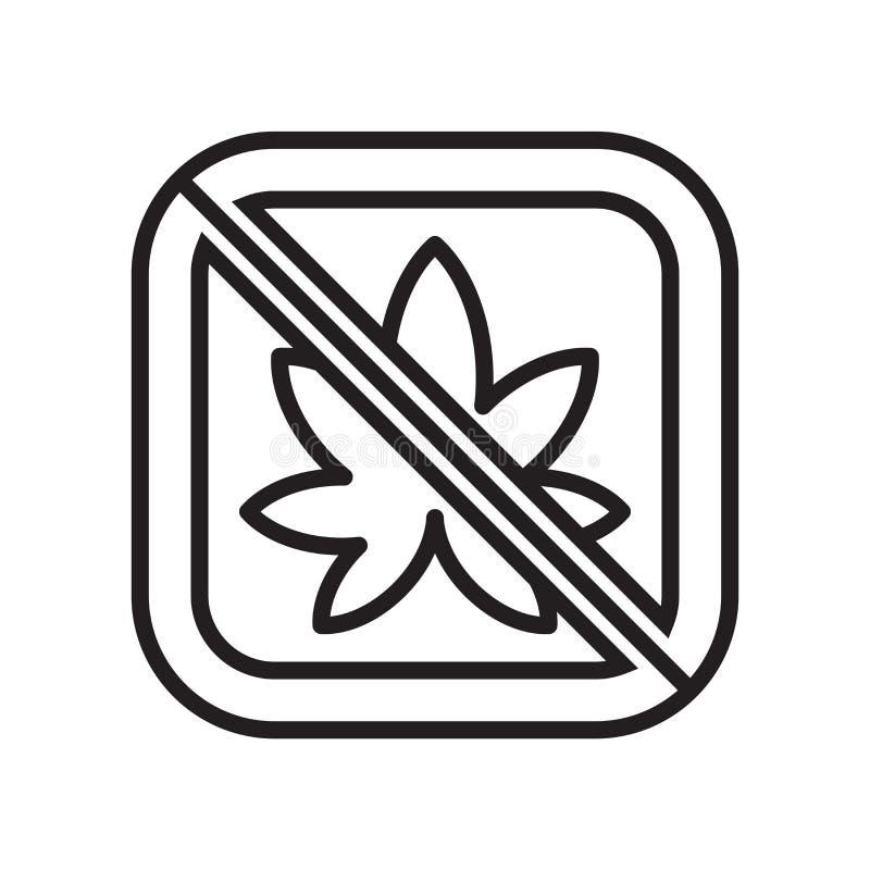 Sinal e símbolo do vetor do ícone da marijuana isolados no fundo branco, conceito do logotipo da marijuana ilustração do vetor