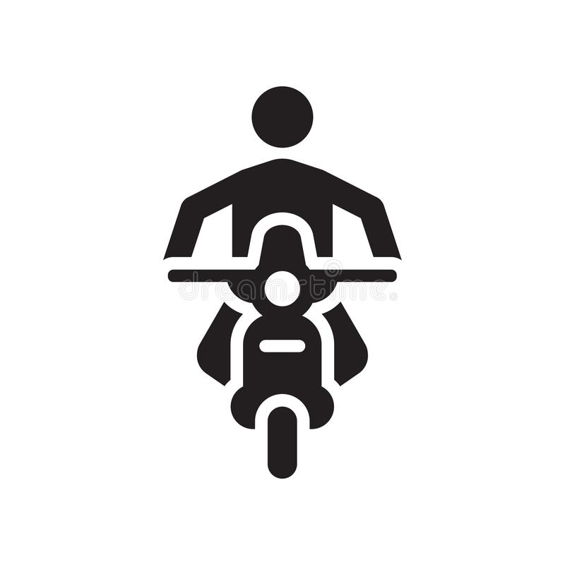 Sinal e símbolo do vetor do ícone da motocicleta isolados no fundo branco, ícone do conceito do logotipo da motocicleta ilustração stock