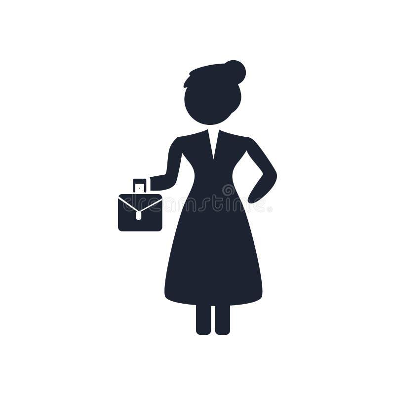Sinal e símbolo do vetor do ícone da mulher adulta isolados no backgrou branco ilustração stock