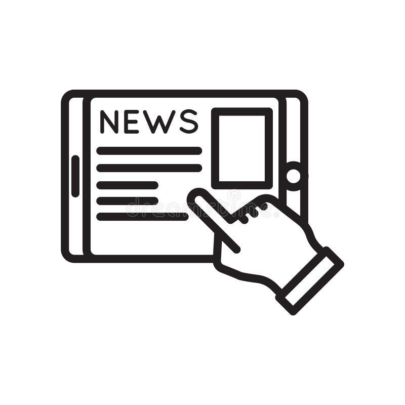 Sinal e símbolo do vetor do ícone da notícia isolados no fundo branco, conceito do logotipo da notícia ilustração do vetor