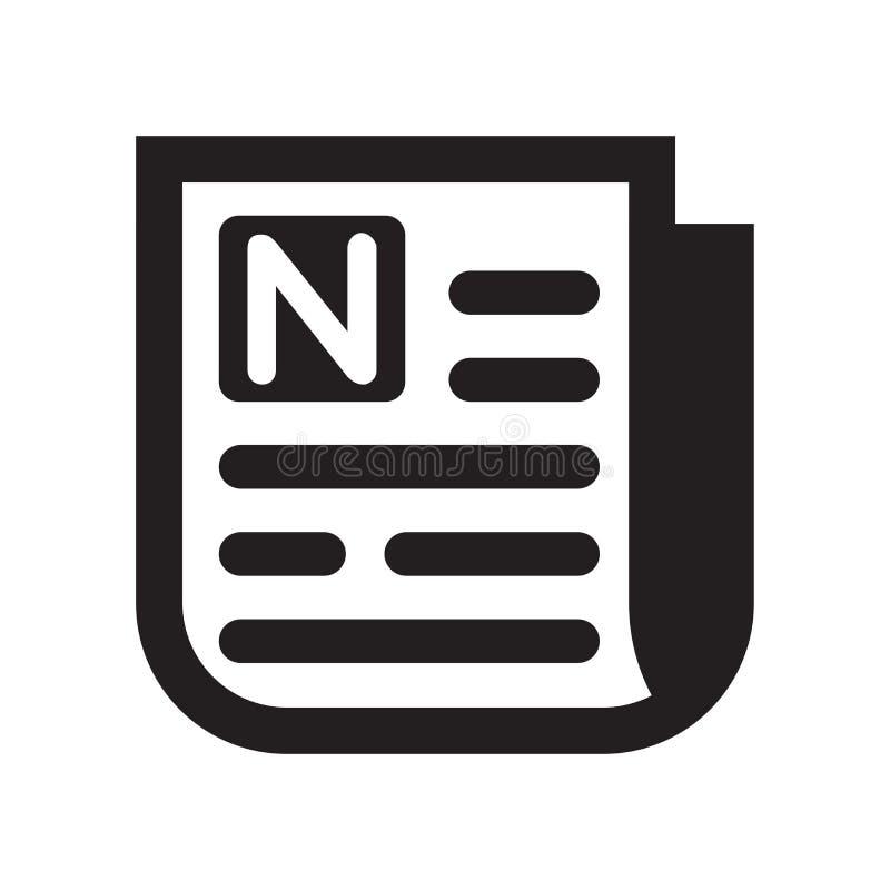 Sinal e símbolo do vetor do ícone da página do jornal isolados no CCB branco ilustração do vetor