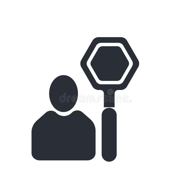 Sinal e símbolo do vetor do ícone do sinal da parada isolados no fundo branco, conceito do logotipo do sinal da parada ilustração stock
