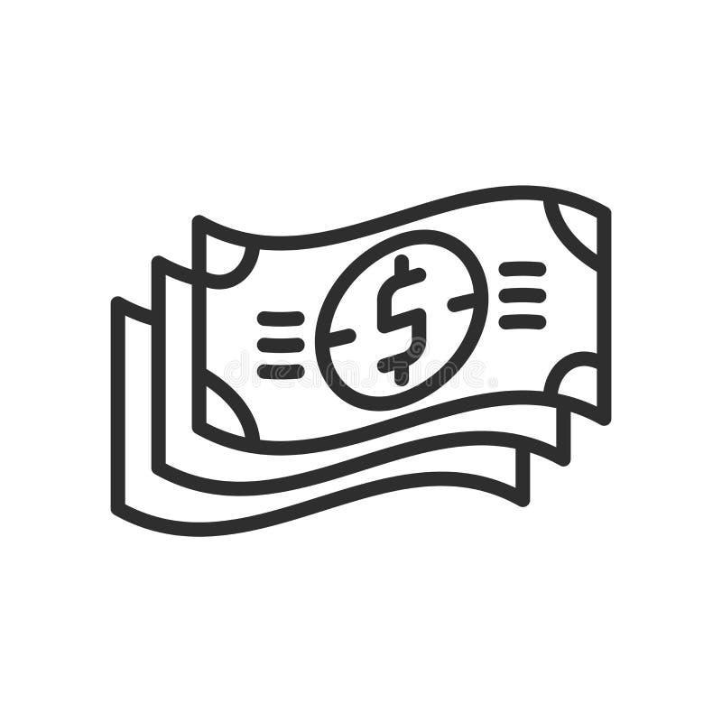 Sinal e símbolo do vetor do ícone da pilha das notas de dólar isolados no branco ilustração stock