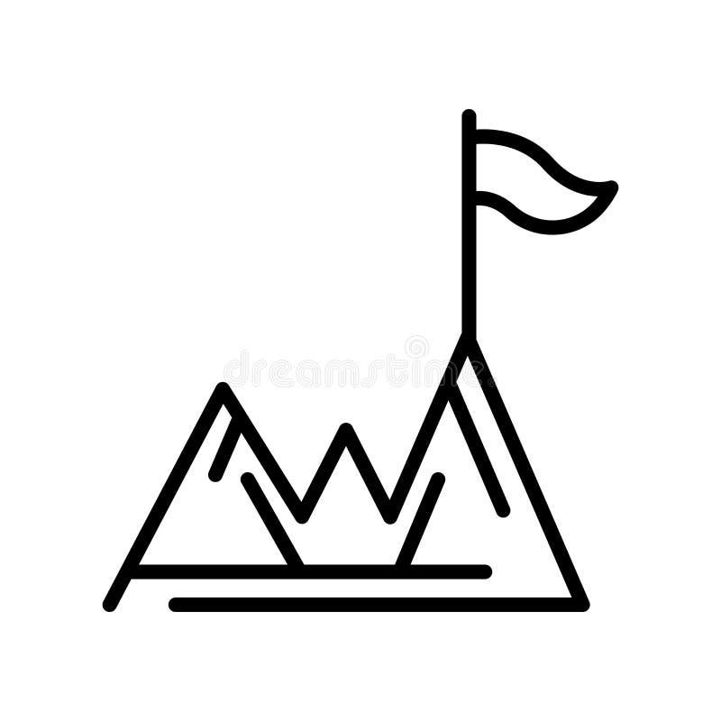 Sinal e símbolo do vetor do ícone da realização isolados no backgr branco ilustração stock