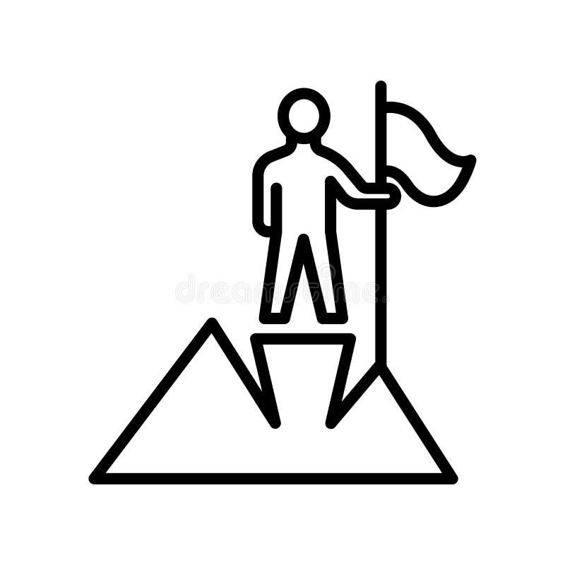 Sinal e símbolo do vetor do ícone da realização isolados no backgr branco ilustração royalty free