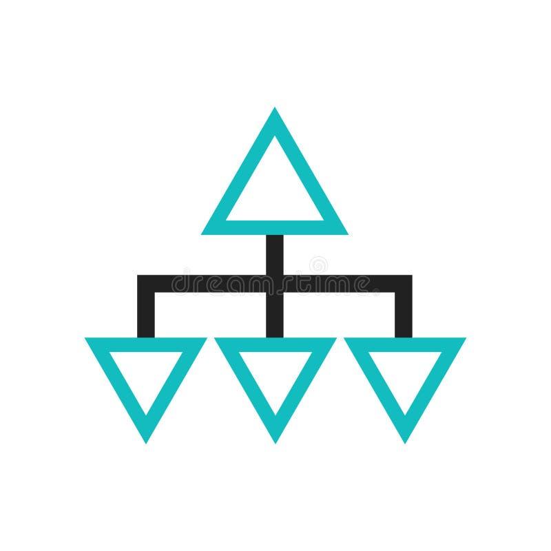 Sinal e símbolo do vetor do ícone do símbolo da relação do fluxograma isolados no fundo branco, conceito do logotipo do símbolo d ilustração royalty free