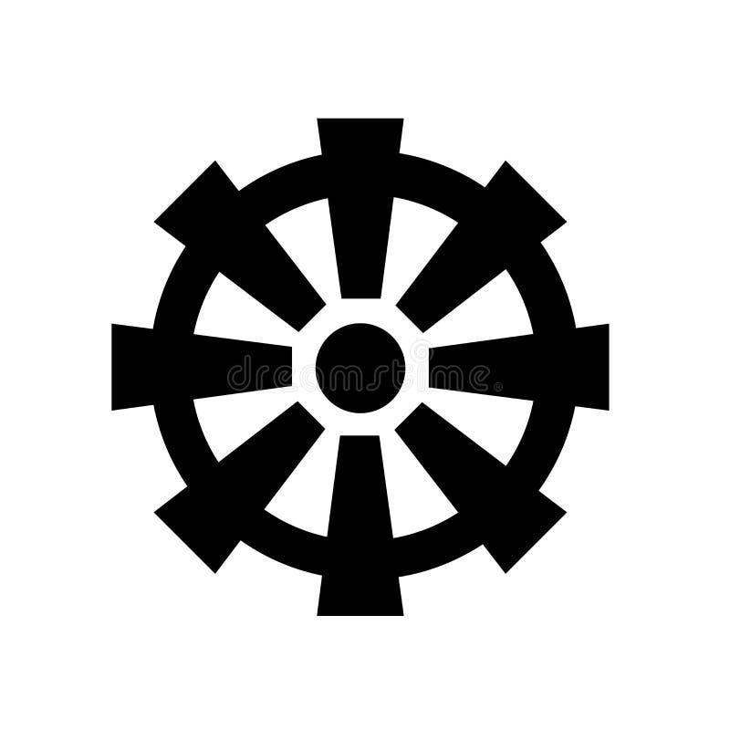 Sinal e símbolo do vetor do ícone da roda do budismo isolados no fundo branco, conceito do logotipo da roda do budismo ilustração do vetor
