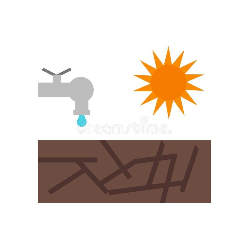 Sinal e símbolo do vetor do ícone da seca isolados no fundo branco, conceito do logotipo da seca ilustração stock