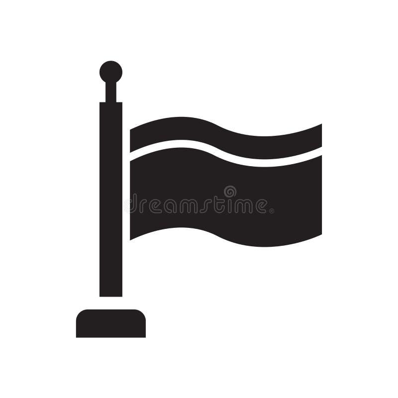 Sinal e símbolo do vetor do ícone da silhueta do ícone da bandeira isolados no fundo branco, conceito do logotipo da silhueta do  ilustração royalty free
