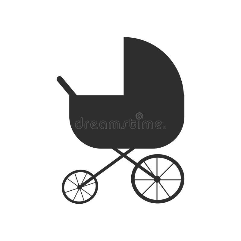 Sinal e símbolo do vetor do ícone da silhueta do carrinho de criança isolados no fundo branco, conceito do logotipo da silhueta d ilustração stock