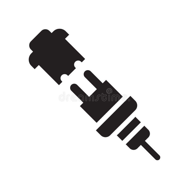 Sinal e símbolo do vetor do ícone da silhueta da tomada isolados no fundo branco, conceito do logotipo da silhueta da tomada ilustração stock