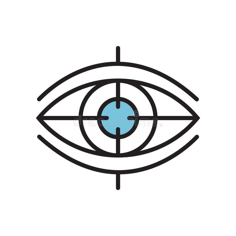 Sinal e símbolo do vetor do ícone da visão isolados no fundo branco, conceito do logotipo da visão ilustração do vetor