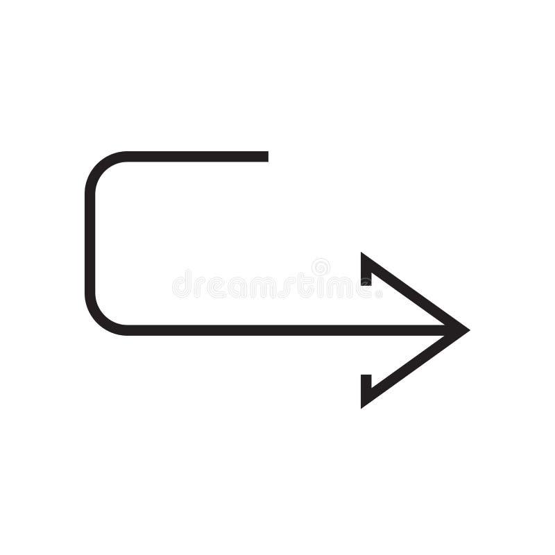 Sinal e símbolo do vetor do ícone da volta de U isolados no fundo branco ilustração royalty free