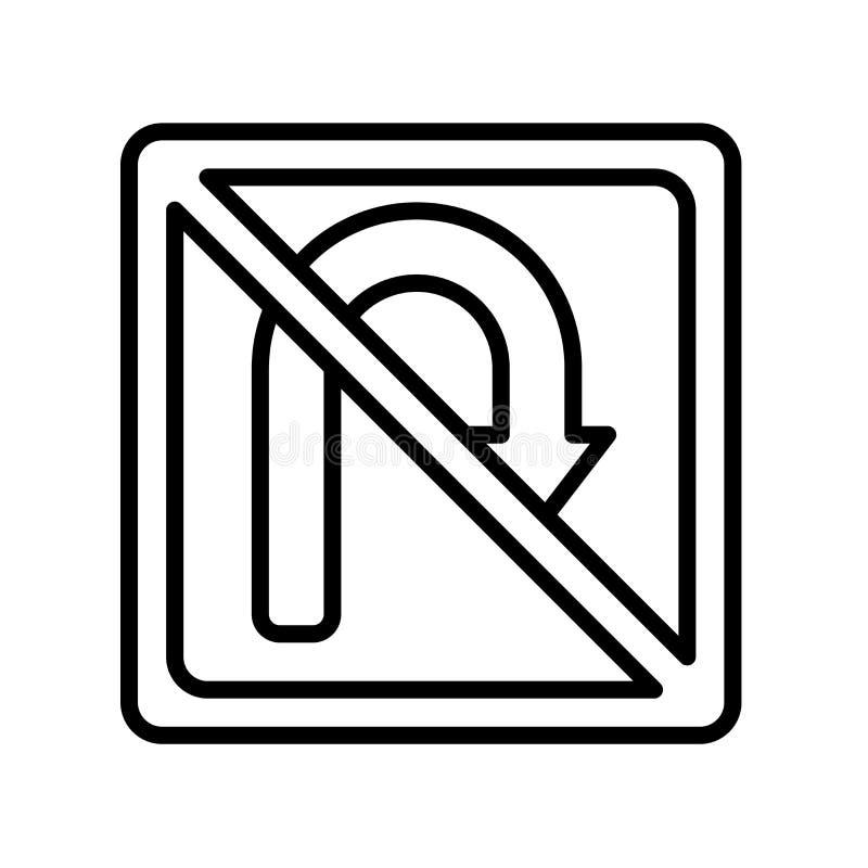 Sinal e símbolo do vetor do ícone da volta de U isolados no fundo branco ilustração do vetor