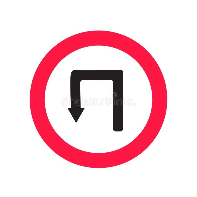 Sinal e símbolo do vetor do ícone da volta de U isolados no fundo branco, conceito do logotipo da volta de U ilustração stock