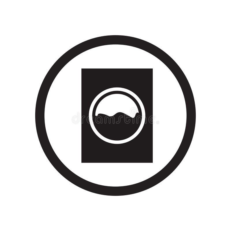 Sinal e símbolo do vetor do ícone da zona da lavanderia isolados no fundo branco, conceito do logotipo da zona da lavanderia ilustração stock