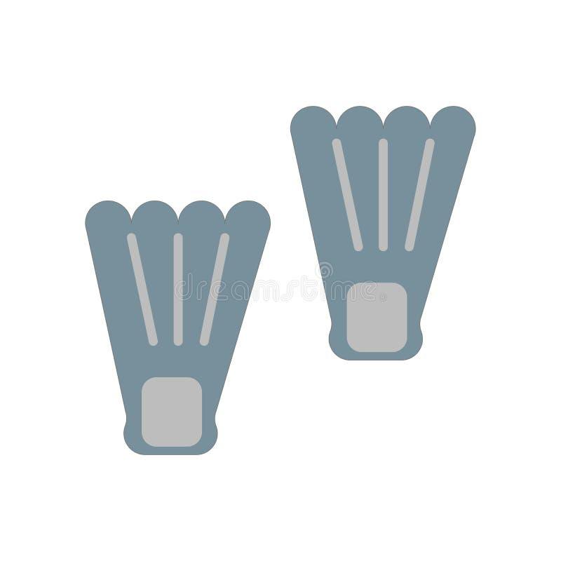Sinal e símbolo do vetor do ícone das aletas isolados no backgroun branco ilustração royalty free