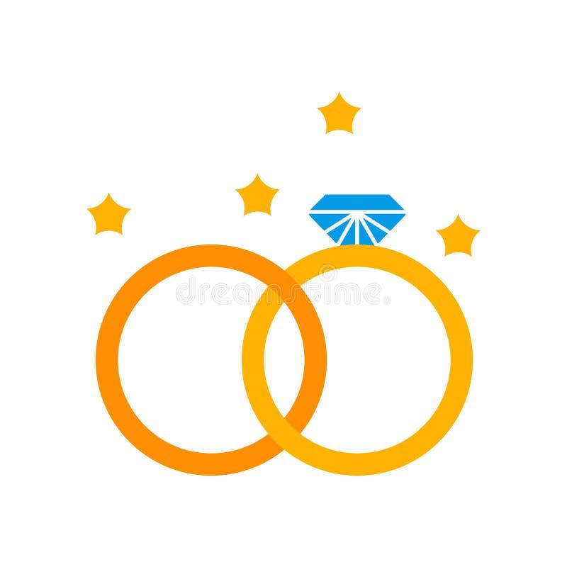 Sinal e símbolo do vetor do ícone das alianças de casamento isolados na parte traseira branca ilustração stock
