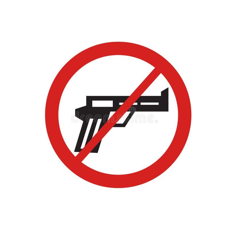 Sinal e símbolo do vetor do ícone das armas isolados no fundo branco, conceito do logotipo das armas ilustração royalty free