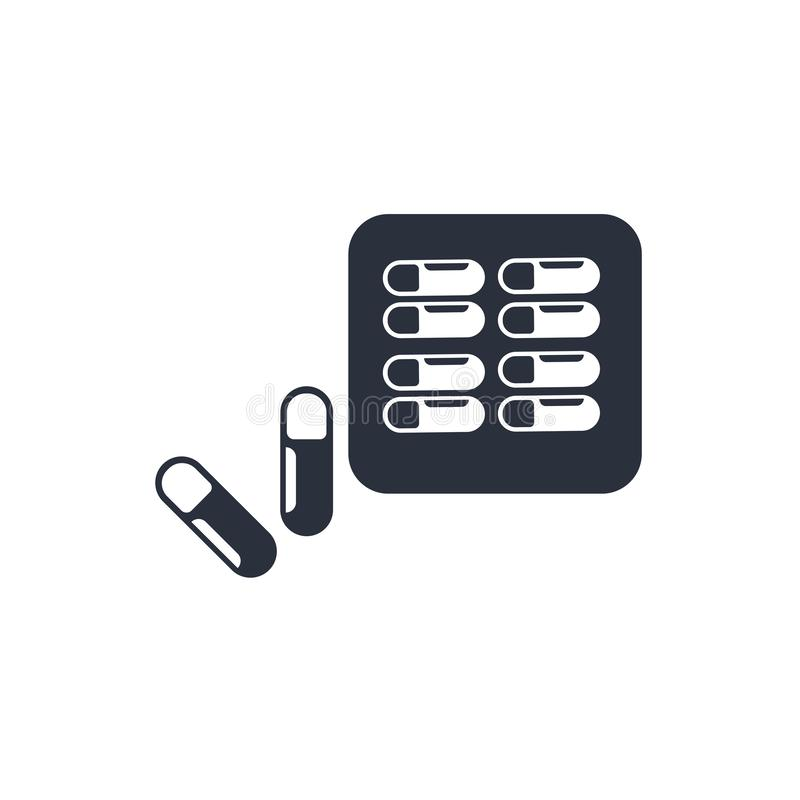 Sinal e símbolo do vetor do ícone das cápsulas e dos comprimidos das drogas isolados no fundo, nas cápsulas das drogas e no conce ilustração stock