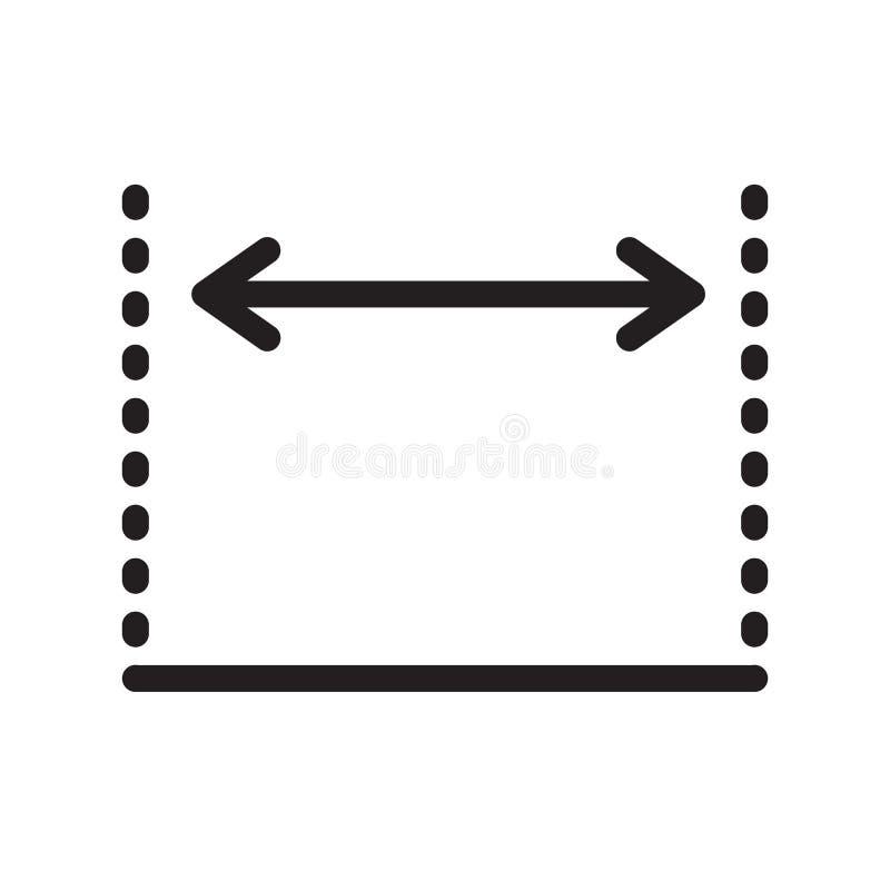 Sinal e símbolo do vetor do ícone das dimensões isolados no backgro branco ilustração do vetor