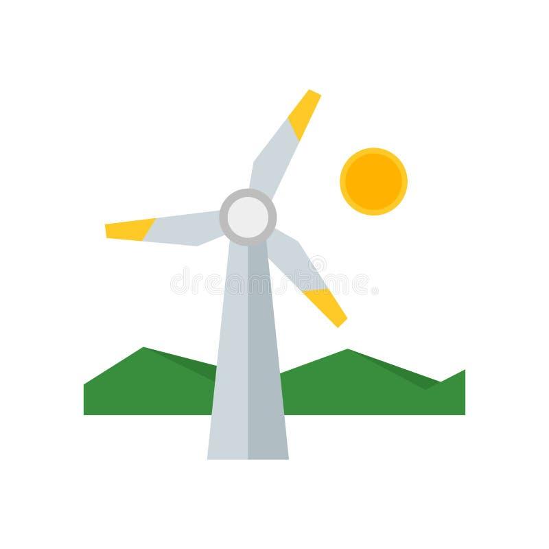 Sinal e símbolo do vetor do ícone das energias eólicas isolados no fundo branco, conceito do logotipo das energias eólicas ilustração do vetor
