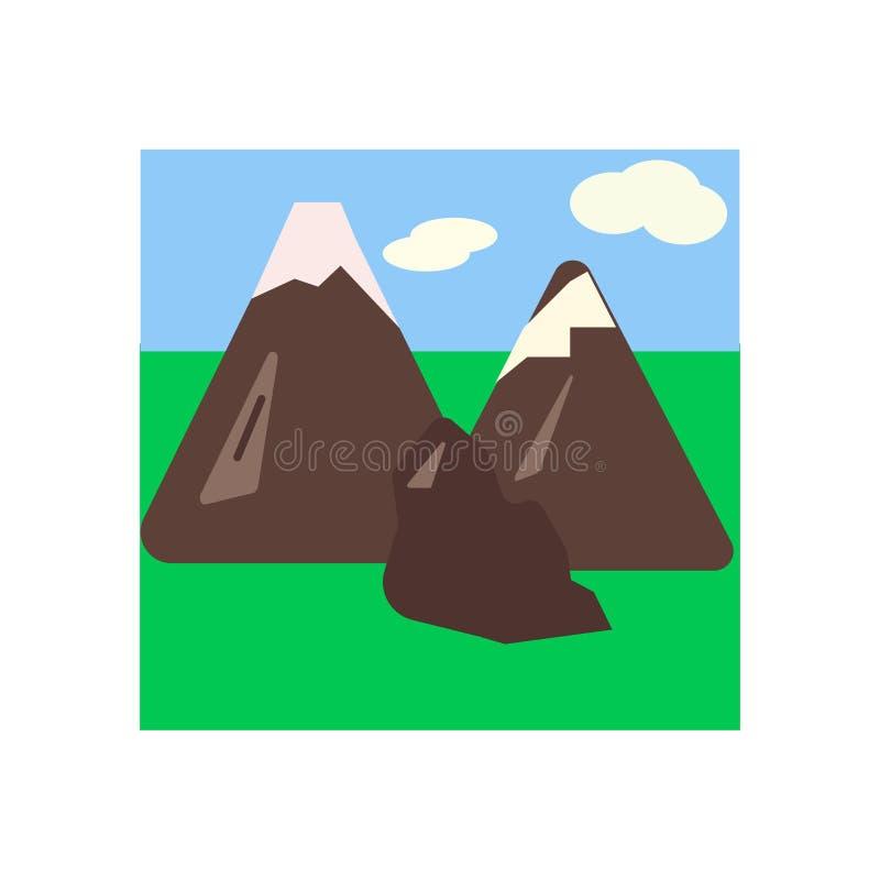 Sinal e símbolo do vetor do ícone das montanhas isolados no fundo branco, conceito do logotipo das montanhas ilustração royalty free