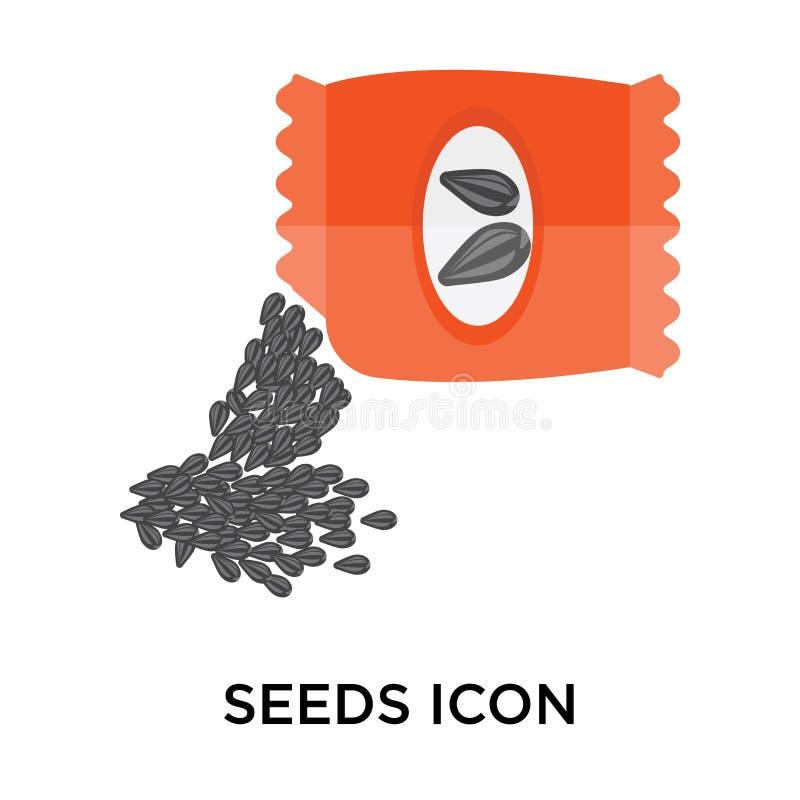 Sinal e símbolo do vetor do ícone das sementes isolados no fundo branco, ilustração stock