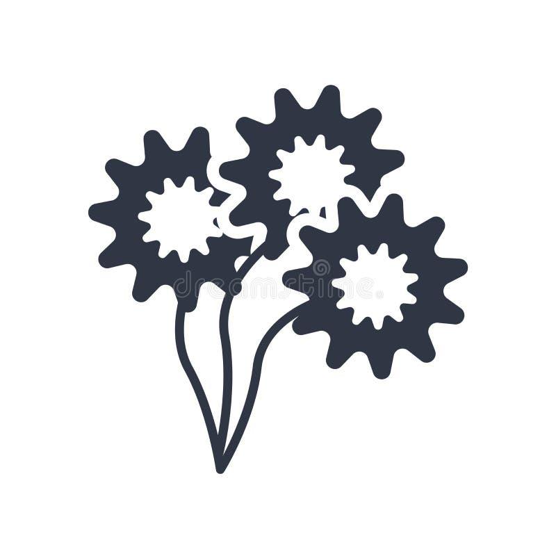 Sinal e símbolo do vetor do ícone de Daisy Bouquet isolados no fundo branco, conceito do logotipo de Daisy Bouquet ilustração royalty free