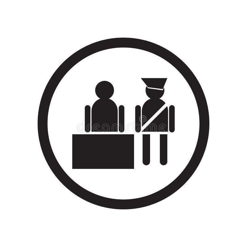 Sinal e símbolo do vetor do ícone de Inmigration Check Point isolados no fundo branco, conceito do logotipo de Inmigration Check  ilustração royalty free