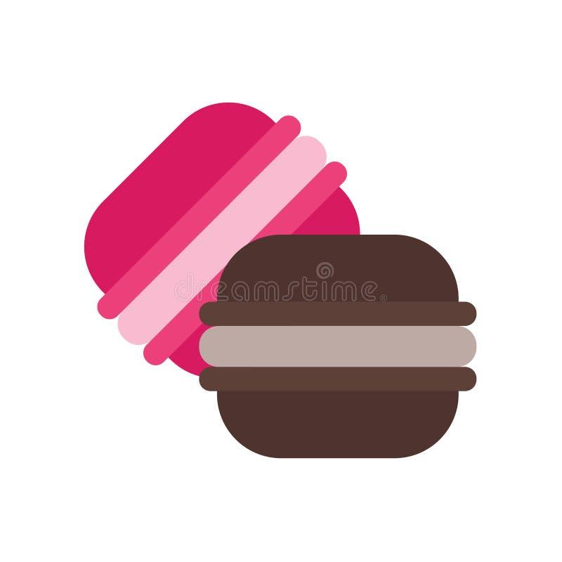 Sinal e símbolo do vetor do ícone de Macarons isolados no fundo branco, conceito do logotipo de Macarons ilustração stock