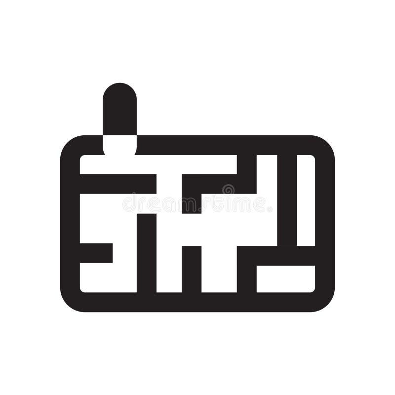 Sinal e símbolo do vetor do ícone de Maze Game isolados no fundo branco, conceito do logotipo de Maze Game ilustração stock