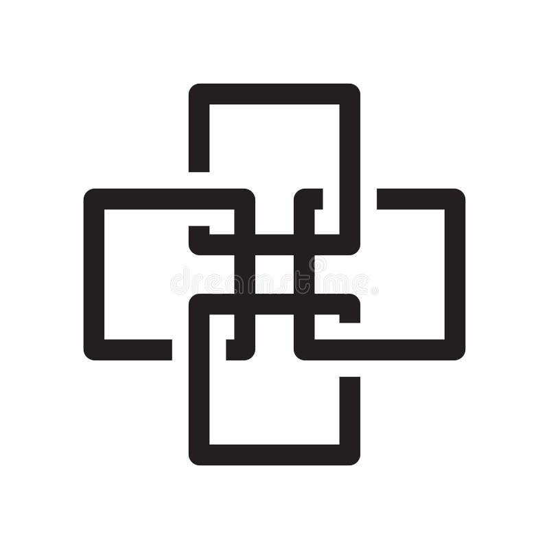 Sinal e símbolo do vetor do ícone de quatro quadrados isolados no backg branco ilustração do vetor