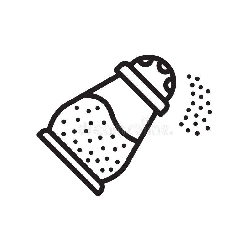 Sinal e símbolo do vetor do ícone de sal isolados no fundo branco, S ilustração stock