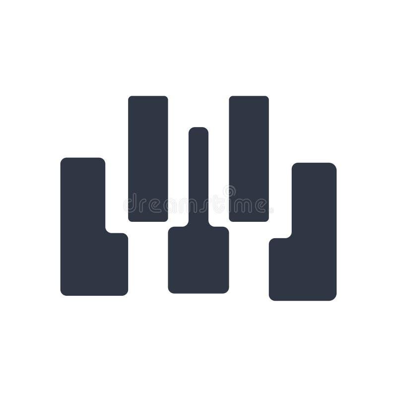 Sinal e símbolo do vetor do ícone de sete chaves do piano isolados no fundo branco, conceito do logotipo de sete chaves do piano ilustração royalty free